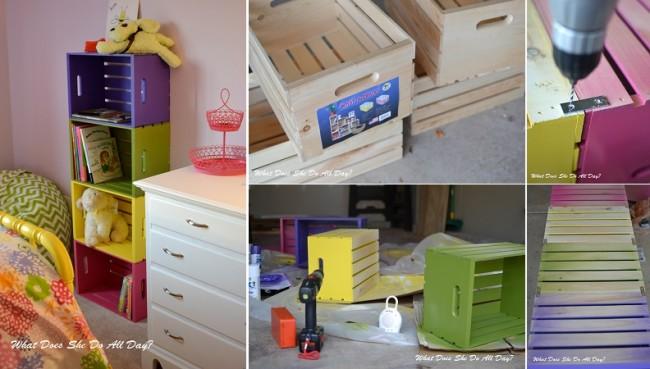 Biblioteca con cajones de colores para el cuarto de los for Como hacer una sala esquinera