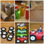 Juguetes reciclados: Coloridos autos para nenes con cartón