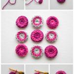 Coloridos botones tejidos al crochet para renovar prendas de vestir