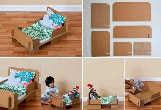 Peque as ideas cama de mu ecas realizada con material for Reciclar una cama de madera