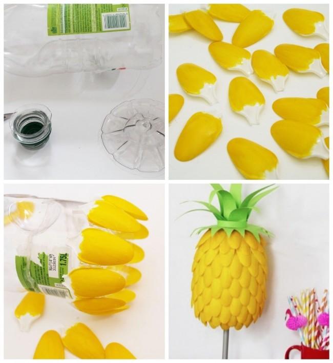 Anan con cucharitas de pl stico adorno con material for Decoracion de espejo con material reciclable