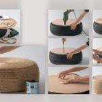¡Reciclando y decorando! Puf realizado con neumáticos e hilo sisal