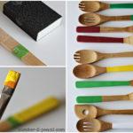 ¡Coloridos cubiertos! Renovar cubiertos de madera y ponele color a la cocina