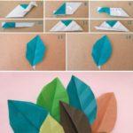 Hojas de diferentes colores realizadas con la técnica origami