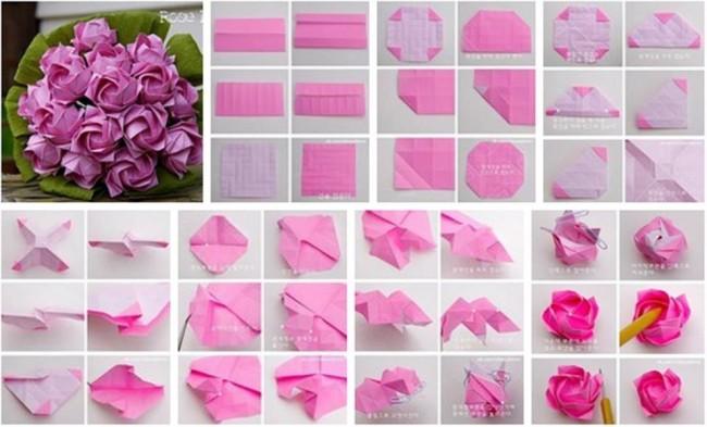 Como Hacer Una Rosa De Origami Paso A - Origami Easy