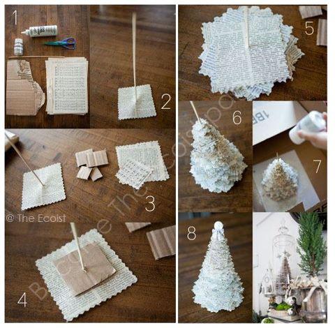 Acerc ndonos a navidad pino navide o realizado con papel for Decoracion del hogar hecho a mano