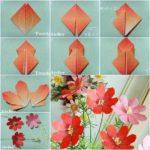 Coloridas flores de papel para decorar el hogar realizados con la técnica origami