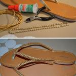 Sandalias renovadas con perlas de una manera fácil y económica