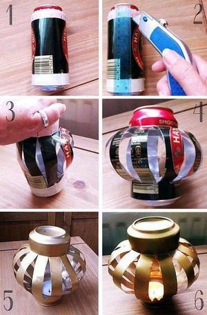 en el da de hoy te vamos a mostrar en este diy de reciclado con portavelas realizado con latas de cerveza image