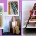 Cómo convertir una vieja escalera en una estantería útil: Imágenes de escaleras recicladas