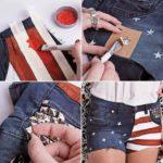 Ideas para reciclar un short de jean viejo con tachas y acrílicos