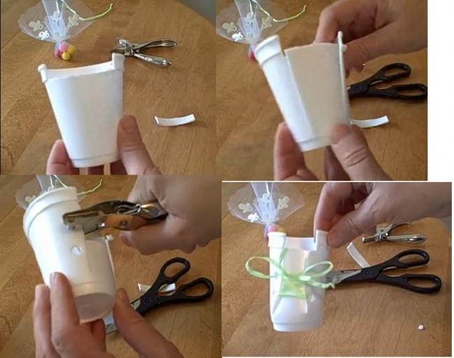Ideas de souvenirs para bautismo realizados con vasos de for Como decorar unas facil