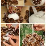 Bola para el árbol de navidad realizada con piñas
