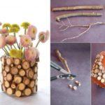 ¿Cómo renovar macetas utilizando pequeños rolos de madera?