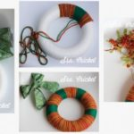 ¡Preparativos navideños! Corona realizada con lanas de diferentes colores
