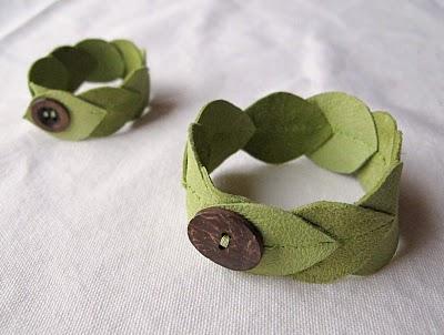 cmo hacer pulsera de cuero verde con forma de hojas