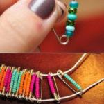 ¿Cómo hacer unas pulseras coloridas con alfileres de gancho y mostacillas?