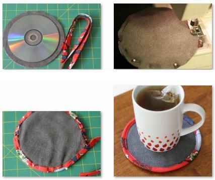 Paso a paso para hacer un posavasos reciclado con un cd - Manualidades de reciclaje faciles paso a paso ...