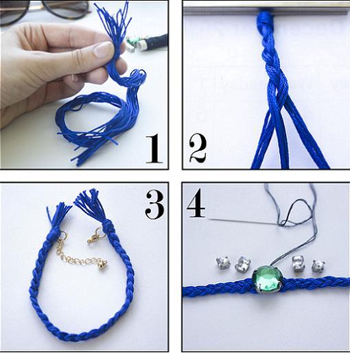 Delicada pulsera realizada con hilo azul y piedras paso a for Como hacer color piedra