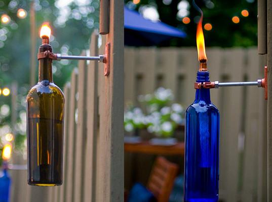 C mo hacer antorchas para el jard n con botellas de vino for Antorchas para jardin combustible