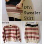 Cómo hacer una pollera con un sweater reciclado e intervenido: Diy Sweater- pollera