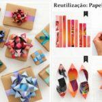 Moños realizados con tiras de papel revista para regalos