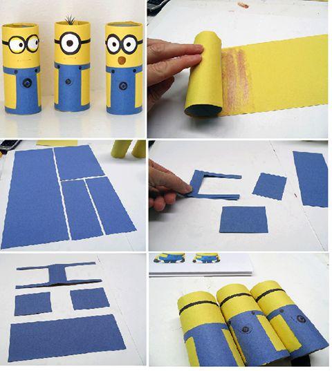 DIY Minions con rollo de cartón