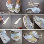 ¡Ponele onda! Zapatillas customizadas con tachas doradas para este verano