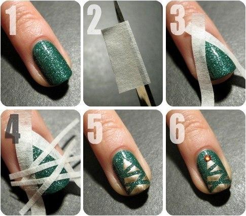 10.-DIY-Decorar-uñas-con-árbol-navideño