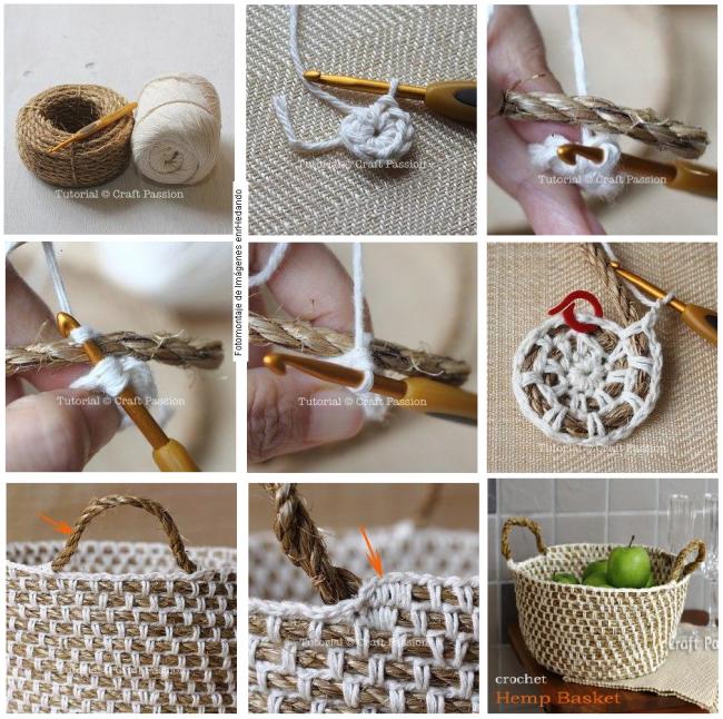 como hacer un cesto con crochet y cuerda tutorial