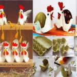 Divertidas gallinas para decorar la cocina confeccionadas con material reciclable