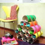 ¡Colores y reciclado! Zapatero con tubos de PVC con colores divertidos