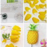 Ananá con cucharitas de plástico: Adorno con material reciclado