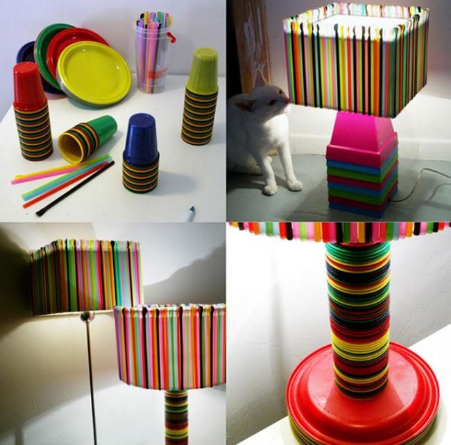 L mparas coloridas con material reciclable c mo hacerlas - Lamparas de mesa originales ...