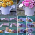 Flores para centros de mesa con cinta bies