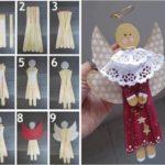 Angelitos con palitos de helado como souvenir para bautismo