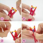 Técnicas: Pulsera de gomitas de colores realizadas con broches