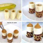 Deliciosos cañoncitos de banana con dulce de leche bañados con chocolate