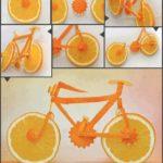 ¡Decora tu mesa y sorprende a tus invitados! Original bicicleta realizada con naranjas y zanahorias