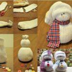 Simpáticos muñecos de nieve con una media para el cuarto de los niños ¿Cómo hacerlos?