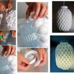 ¡Reciclemos y creemos! Lampara de techo realizada con botella plástica y cucharas descartables