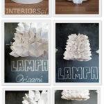 Delicada Pantalla reciclada y decorada con la técnica origami
