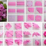 Amorosas Rosas con la técnica origami para un ramo de novia: paso a paso
