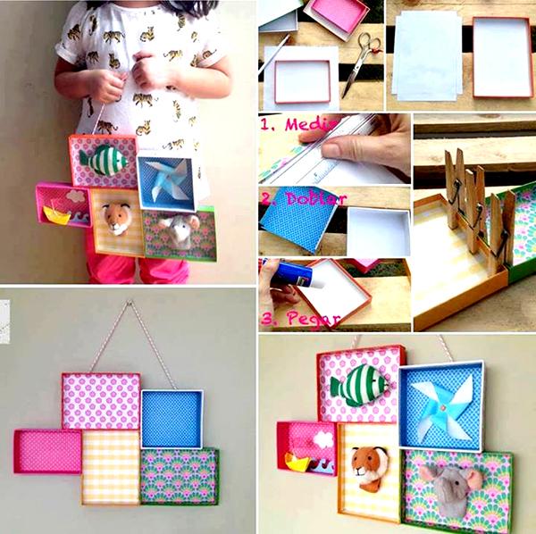 Reciclar y crear cuadros para el cuarto de los ni os confeccionados con tapas de cajas de - Cuadros habitacion nino ...