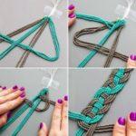 Original diseño de collar con tiras de mostacillas en dos tonos trenzado