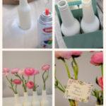 Originales floreros realizados con botellas como souvenirs para una boda