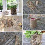 Floreros económicos estilo rústico realizados con tronco y arpillera