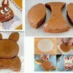Torta con forma de conejo en chocolate para disfrutar en las Pascuas