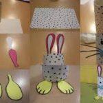 Conejo para huevos de Pascuas realizado con todos materiales reciclados
