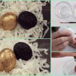 Brillantes huevos para decorar la mesa en Navidad